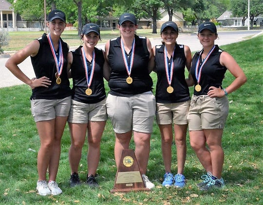 The Robert Lee Lady Steers pose with their second-place medal at the 2018 UIL Class 1A state golf tournament.