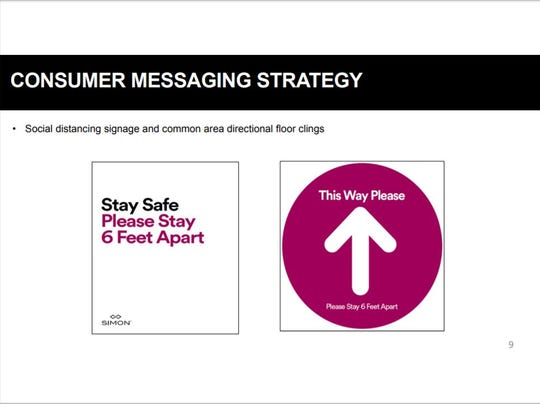 A presentation from Simon Property Group leadership shows an example of signage that might be used at its malls.
