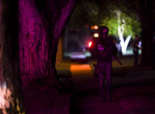 Police respond to an incident on Tuesday, May 5, 2020 near South Gordon Drive and East 16th Street in Sioux Falls, S.D.