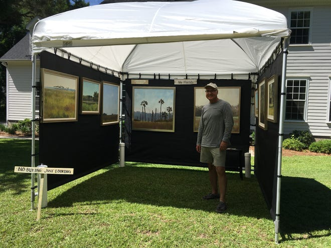 Steve Andrews, a local attorney who paints as a hobby, had his art show canceled due to the coronavirus pandemic  Actually more than a hobby as he has been attending art shows for close to 20 years.  After his show was canceled he decided to have his own show in his front yard last weekend.