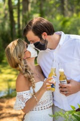 Kelsey and Brian Lovering embraced humor at their wedding hosted amid the coronavirus outbreak.