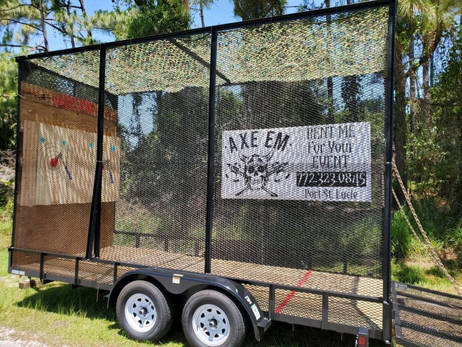 Axe Em, which opened in Port St. Lucie last June, built an ax throwing trailer to rent out for events and give people across the Treasure Coast a taste of the trend growing in popularity.