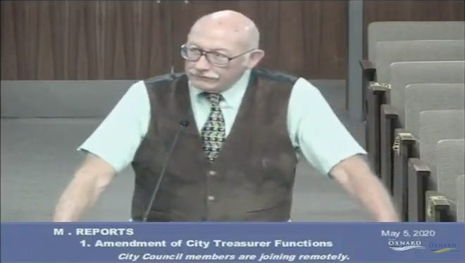 A screenshot of the Oxnard City Council meeting shown on YouTube on Tuesday shows City Treasurer Phil Molina directing comments to City Manager Alex Nguyen.