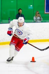 June 25, 2019: The New York Rangers host their prospects at development camp at Chelsea Piers in Stamford, CT. Pictured is Karl Henriksson.