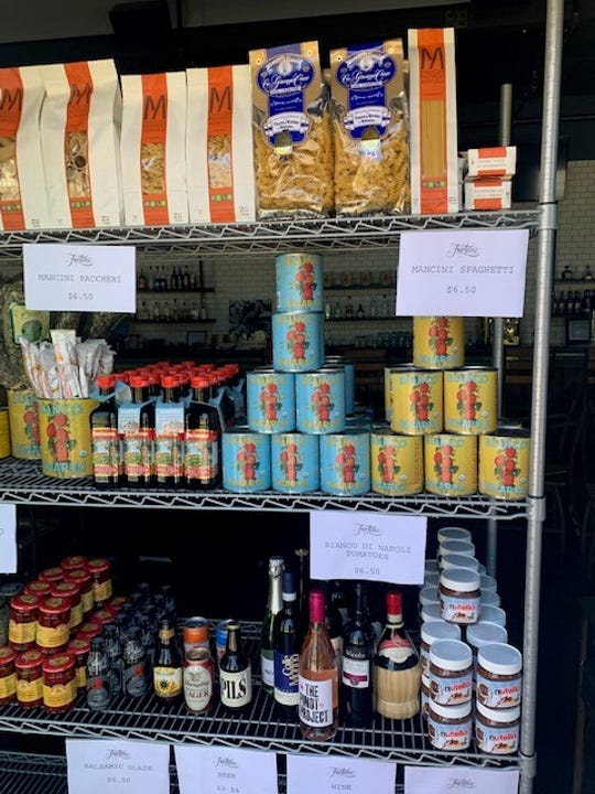 The Fortina Pantry at Fortina in Armonk features curated Italian staples like tomato sauce, pasta and dressings.