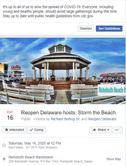 A screenshot shows the Facebook event for the May 16 rally in Rehoboth Beach to protest the governor's state of emergency order during the coronavirus pandemic.