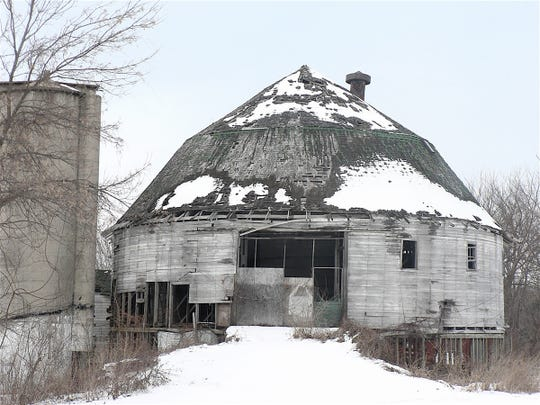 "The ""Round Barn"" just before it was demolished."