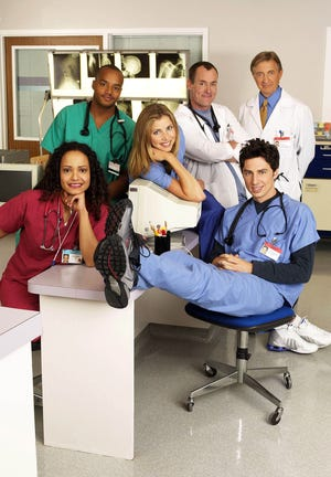 "Judy Reyes as Nurse Carla Espinosa, Donald Faison as Chris Turk, Sarah Chalke as Elliott Reid, John C. McGinley as Dr. Phil Cox, Ken Jenkins as Dr. Bob Kelso, Zach Braff as John ""J.D. Dorian on ""Scrubs."""