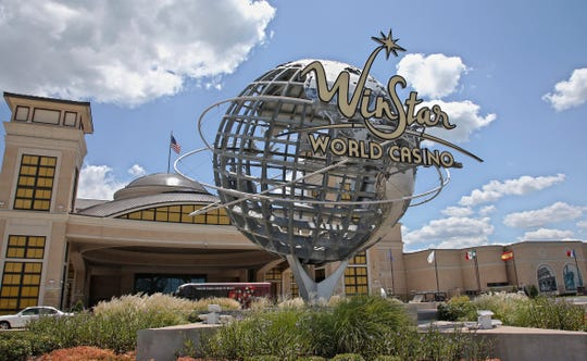 The entrance of the WinStar World Casino and Resort is pictured in Thackerville, Okla. on July 23, 2019.