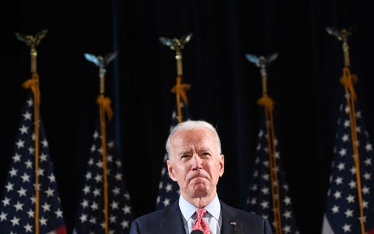 Joe Biden speaks about COVID-19, known as the Coronavirus, during a press event in Wilmington, Delaware on March 12, 2020.