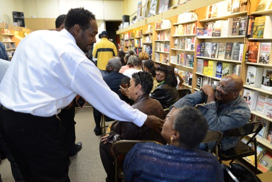 Rodney King greets fans in 2012 prior to the presentation of his autobiographical book 'The Riot Within...My Journey from Rebellion to Redemption' at the Eso Won Book Store in Los Angeles, California.