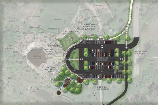 The new parking lot at the Scheig Center in Appleton will have 92 stalls and a drop-off lane.