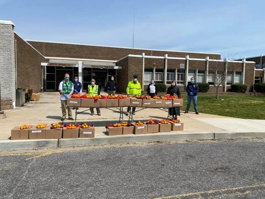 Toms River food distribution at Walnut Street Elementary School, April 17, 2020.