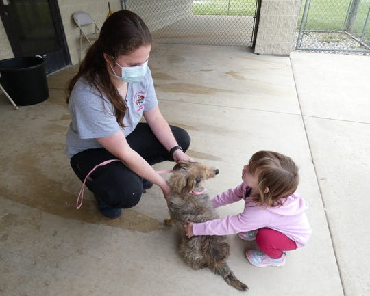 Deidra Taylor,office manager for the Humane Society Serving Crawford County, and 2-year-old Karis Rhone pet Minnie, who is being adopted by Karis' family.