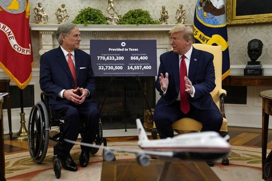 President Donald Trump speaks during a meeting about the coronavirus response with Gov. Greg Abbott, R-Texas, in the Oval Office of the White House, Thursday, May 7, 2020, in Washington.