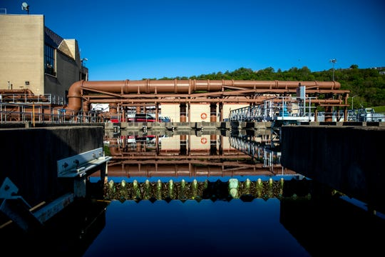 Wastewater is cleaned at the Mill Creek Wastewater Treatment Plant in Lower Price Hill on Thursday, May 7, 2020.