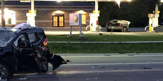 This Fox19 photo shows the aftermath of a crash that sent two Edgewood High School students to the hospital May 6.