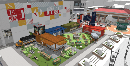 A new type of open-air dining and shopping area is coming soon to Newport on the Levee. North American Properties is creating Bridgeview Box Park, a colorful box park, which will feature six local restaurants and retailers and great views of the Ohio River.