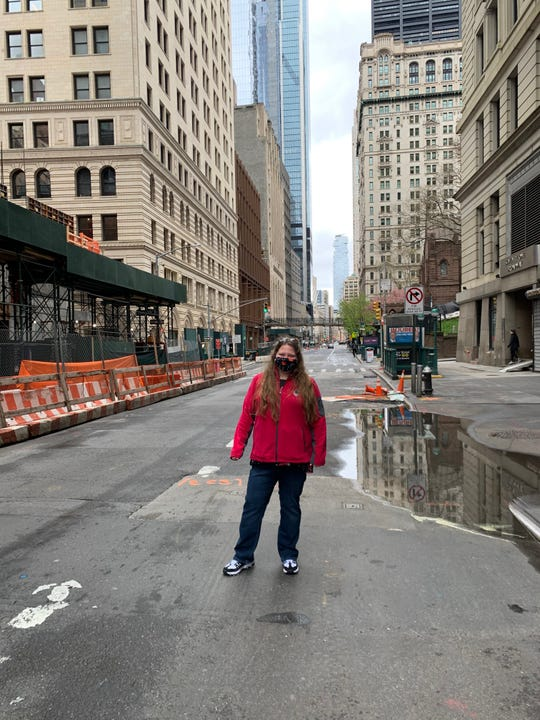 APSU nursing student Sarah Sullivan, RN, wearing a face mask in New York City on April 18, 2020. Sullivan was in the city to assist with the COVID-19 crisis.