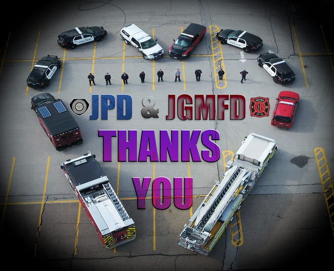 This visual thank-you to health care workers was displayed by the Johnston-Grimes Metropolitan Fire Department and Johnston Police Department.