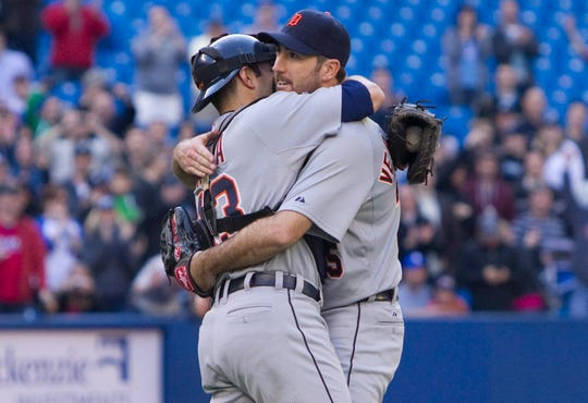 Tigers pitcher Justin Verlander, right, and catcher Alex Avila celebrate Verlander's no-hitter against the Toronto Blue Jays in Toronto on Saturday, May 7, 2011.