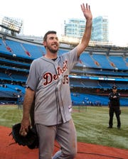 Detroit Tigers pitcher Justin Verlander acknowledges the crowd after throwing a no-hitter against the Toronto Blue Jays in Toronto on Saturday, May 7, 2011.  This was Verlander's second career no-hitter. (AP Photo/The Canadian Press, Darren Calabrese)