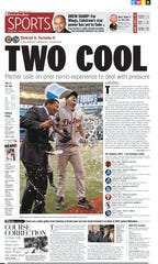 The Free Press Sports front page from May 8, 2011, one day after Tigers pitcher Justin Verlander threw his second career no-hitter in Toronto.
