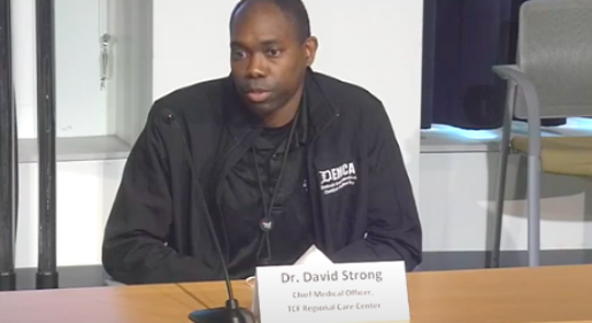 Dr. David Strong, chief medical officer at the TCF Regional Care Center field hospital,speaks Thursday, May 7, 2020, at the city of Detroit's press briefing on the coronavirus.