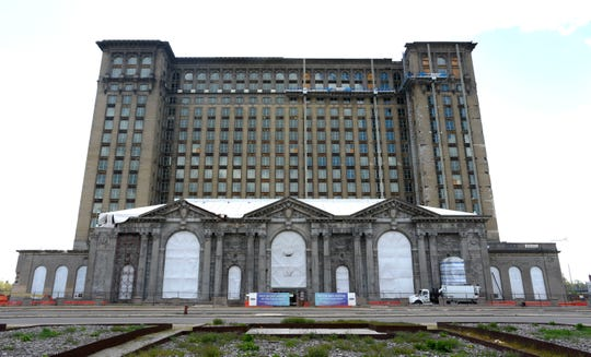 Construction appeared idle Thursday at the Ford Motor Company's Michigan Central Station site in Corktown in Detroit.