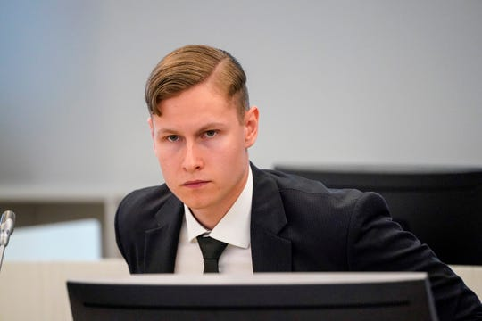 Defendant Philip Manshaus appears in court on charges of murder and terrorism in Olso, Norway, Thursday May, 7, 2020.