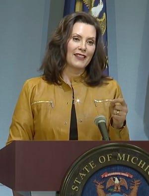 Gov. Gretchen Whitmer speaks Thursday, May 7.