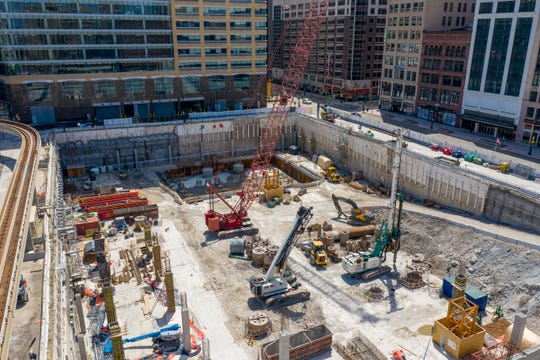The Hudson's site construction project in downtown Detroit has been idle the past several weeks do to the coronavirus outbreak.