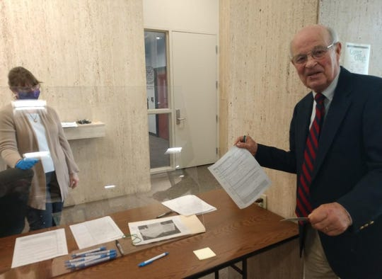 U.S. Senate hopeful Bob Carr of Mackinac Island is pictured at the Michigan Department of State office. Carr is concerned that changes to petition signature requirements could keep him off the ballot.