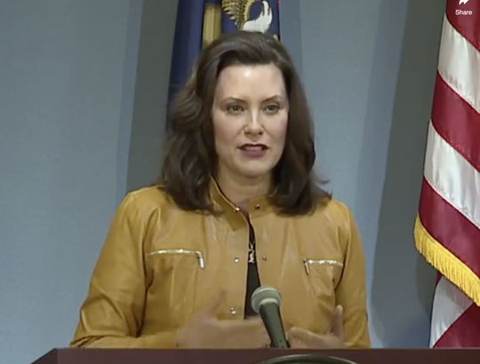 Gov. Gretchen Whitmer speaks Thursday, May 7.