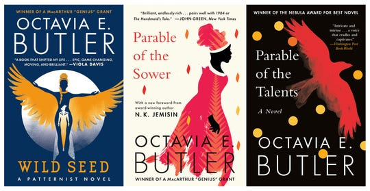 "This combination of book cover images released by Grand Central Publishing shows, ""Wild Seed,"" from left, ""Parable of the Sower,"" and ""Parable of the Talents,"" by Octavia e. Butler."