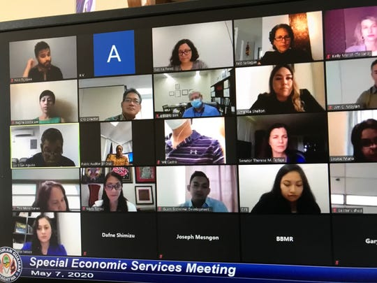 Lawmakers and directors of government agencies discuss the impact of the virus on the island's economy on May 7, 2020. The meeting was conducted virtually, in line with current social distancing mandates.