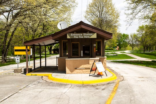 An entrance booth at the West Overlook Campground is closed during the novel coronavirus pandemic, Thursday, May 7, 2020, at the Coralville Reservoir in Johnson County, Iowa.