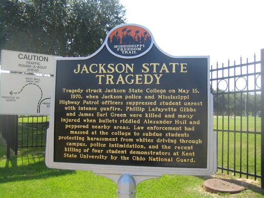 A Mississippi Freedom Trail marker commemorates the slayings of Phillip Lafayette Gibbs and James Earl Green on May 15, 1970.