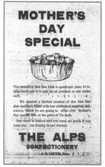 Confectioner A. D. Louvis placed this enticing ad for his chocolates in the Daily Eagle on May 11, 1923.
