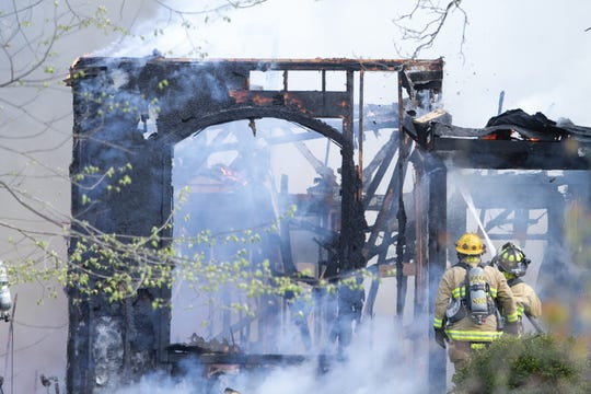 Fire destroyed a home on the 11100 block of Guyn Drive in Brighton Township Thursday, May 7, 2020.