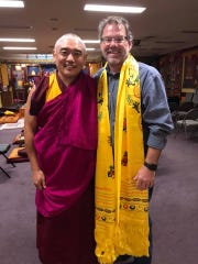 Jud Hendrix, executive director of Interfaith Paths to Peace, pictured with Geshe Rapgyal, a monk at the Drepung Gomang Center For Engaging Compassion.
