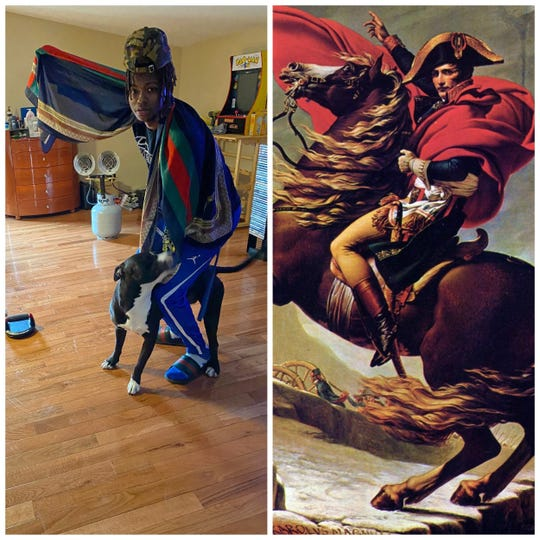 Patrick Walls' recreation (left) of 'Napoleon Crossing the Alps' (right) by Jacques Louis David.