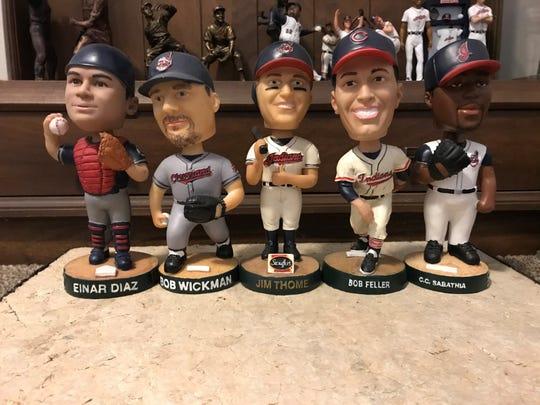 The 2002 Cleveland Indians bobbleheads saw Einar Diaz, Bob Wickman, Jim Thome, Bob Feller and CC Sabathia.