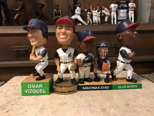 The 2003 Cleveland Indians bobbleheads feature two Omar Vizquels, a CC Sabathia/Josh Bard dual and an Ellis Burks.