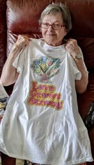 Hamilton House Senior Living resident Cheryl Wright's daughter-in-law helped create a shirt for her that had a multi-color tree of hearts.