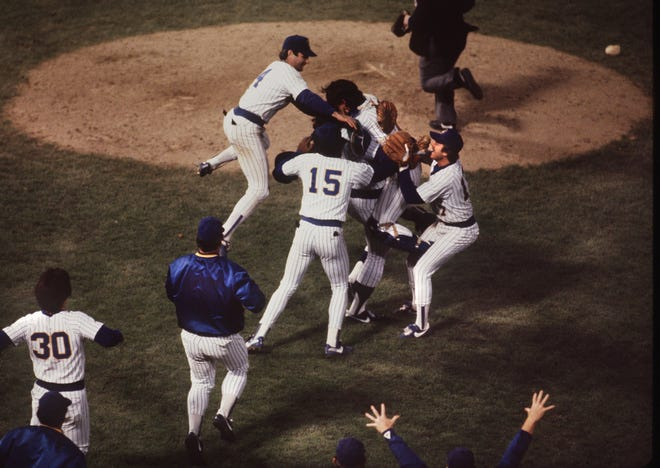 The Milwaukee Brewers celebrate after defeating the California Angels to win the American League pennant and advance to the 1982 World Series.