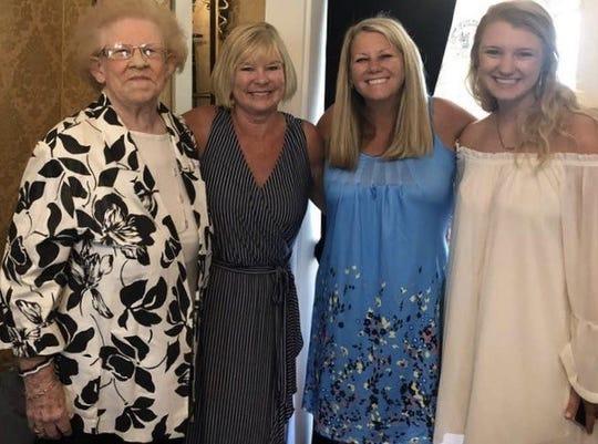 Dorothy Jean Tobin, 90, at a wedding in South Carolina last summer, standing beside her daughter, Cheryl Shrieve.