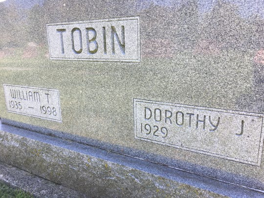 The grave marker where Dorothy Tobin will be laid to rest at Elm Ridge Cemetery.
