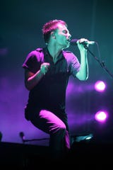 """Thom Yorke performs with Radiohead on the """"What Stage"""" at the Bonnaroo Music and Arts Festival in Manchester, Tenn. on Saturday, June 17, 2006."""