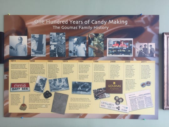 A timeline posted on the wall of the Deo Drive operation lays out the long history of family candy-making in Licking County.